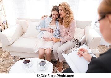 お母さん, ∥で∥, a, 妊娠した, ティーンエージャーの少女, ∥において∥, a, psychologist's, レセプション。