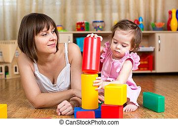 お母さん と 子供, プレーしなさい, ブロック, おもちゃ, 屋内