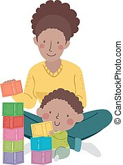 お母さん, イラスト, 赤ん坊, 子供, ブロック, 建物, 男の子