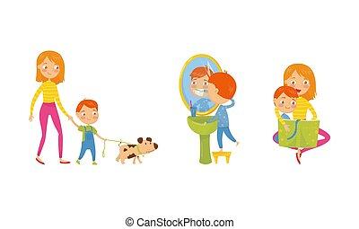 お母さん, ベクトル, 歩くこと, set., イラスト, 犬, ルーチン, 男の子, 特徴, 毎日, 子供