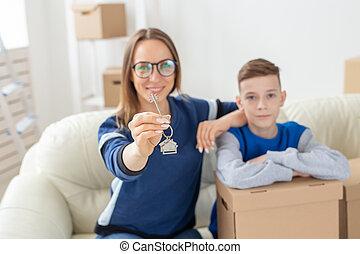 お母さん, 概念, 新しい, 抵当, アパート, 親, 息子, housewarming., family., ...