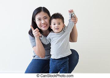 お母さん, 男の子, 単一, アジア人, 上げること