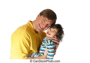 お父さんを抱いている息子, 彼の