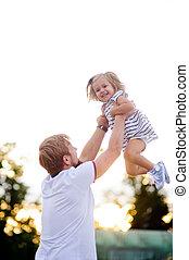 お父さん, わずかしか, daughter., 若い, 魅了, 遊び