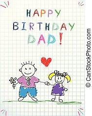お父さん, イラスト, 手, birthday, 赤ん坊, 引かれる, 幸せ