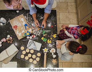 お父さん, ビスケットを作る, クリスマス