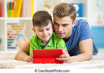 お父さん, プレーしなさい, コンピュータ, タブレット, 息子, 屋内, 子供