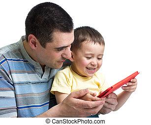 お父さん, プレーしなさい, タブレット, 読まれた, コンピュータ, 子供