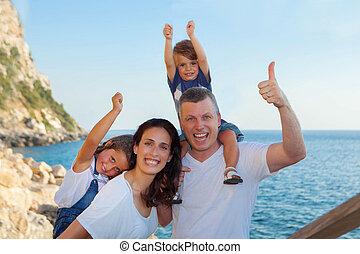お父さん, ママ, 休暇, 子供, 家族