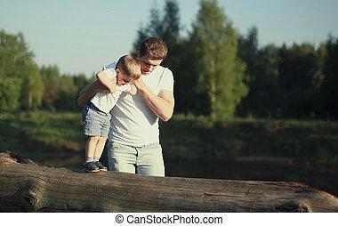 お父さん, 作りなさい, 歩くこと, 父, 息子, ステップ, 助け, 子供, 赤ん坊