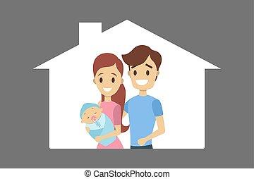 お父さん, 保有物, 若いママ, 赤ん坊, 幸せ