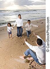 お父さん, 動くこと, 浜, 家族, african-american