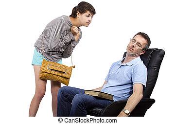 お父さん, 単一, 娘, 待つこと