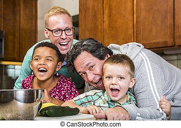 お父さん, 台所, ゲイである, 家族, 笑い