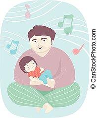 お父さん, 女の子, よちよち歩きの子, 子守り歌, イラスト
