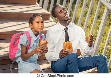 お父さん, 娘, ポジティブ, 空, 喜ばせられた, 一緒に, 見る