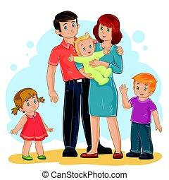 お父さん, 家族, 娘, -, 息子, ベクトル, お母さん, 赤ん坊, 幸せ