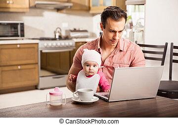 お父さん, 彼の, 仕事, 若い, 単一, 赤ん坊, 家