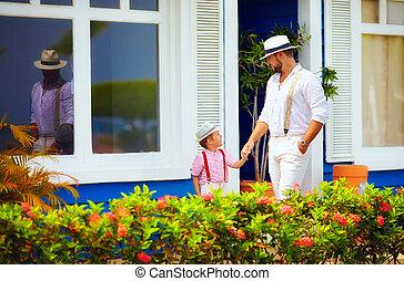お父さん, 歩くこと, カリブ海, 息子, 通り, 流行