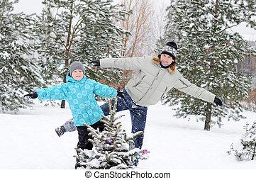 お父さん, 歩くこと, 公園, 冬, 息子