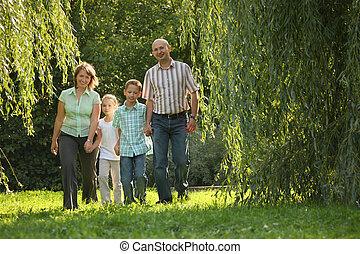 お父さん, 歩くこと, 家族, 2, 早く, park., お母さん, 秋, 微笑, 子供