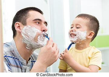 お父さん, 浴室, 持ちなさい, 子供, 楽しみ, 幸せ, ひげそり