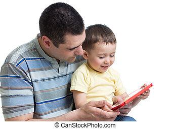 お父さん, 男の子, わずかしか, 遊び, ipad.