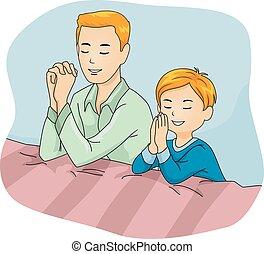 お父さん, 男の子, 子供, 祈とう