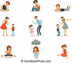 お父さん, 相互, しかりなさい, 否定的, 関係, 叫び, ∥(彼・それ)ら∥, 親, 感情, お母さん, 子供,...