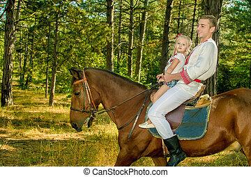 お父さん, 馬, 娘, 若い, 森, 回転する