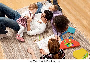 お父さん, 5, グループ, 娘, 遊び