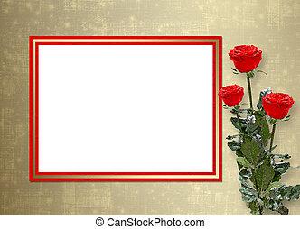 お祝い, ばら, 赤, 招待, ∥あるいは∥, カード