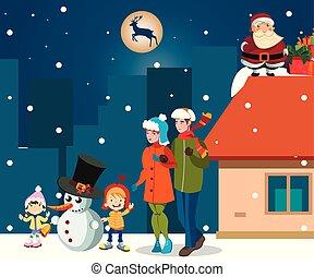 お祝い, カード, 新年, ∥で∥, 家族