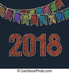 お祝い, 2018, 背景, 幸せ