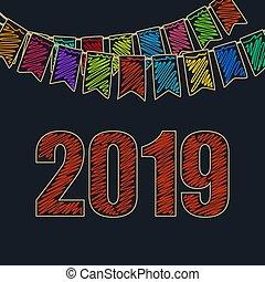 お祝い, 2019, 背景, 幸せ