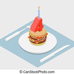 お祝い, burger., 数, 速い, 年, 4, バーガー, 記念日, birthday, candle., 4, 食品。, 休日, celebration., 幸せ