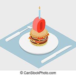 お祝い, burger., 記念日, 速い, 食品。, バーガー, ゼロ, birthday, andle., 休日, celebration., 幸せ