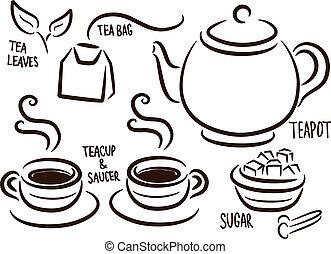 お茶セット, アイコン, 時間