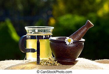 お茶, そして, 木製である, すりこぎ, ∥で∥, chamomiles