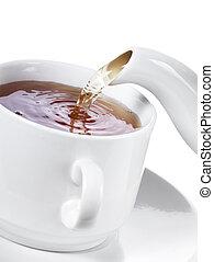 お茶, たたきつける, カップ