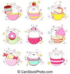 お茶, ねこ, かわいい, カップ, セット