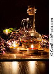 お茶, オイル, ラベンダー, 蝋燭