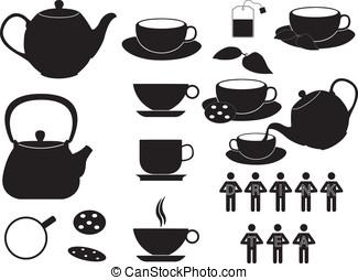 お茶, カップ, そして, オブジェクト