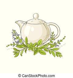 お茶, ベクトル, セージ, イラスト
