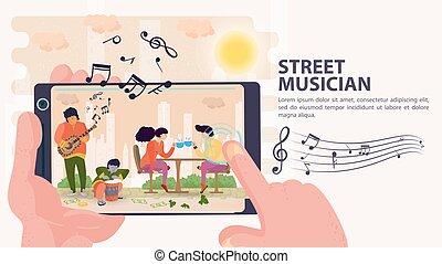 お茶, モデル, 旗, 平ら, 音楽家, イラスト, テーブル, モビール, 射撃, 人々, ベクトル, 通りの 音楽家, カップ電話, 漫画
