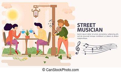 お茶, モデル, 旗, 飲むこと, 平ら, イラスト, テーブル, ベクトル, バイオリン, 遊び, 通りの 音楽家, 飲みなさい, 女の子, 恋人, 漫画