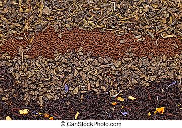 お茶, 乾かされた, 各種組み合わせ
