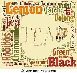 お茶, 単語, 雲