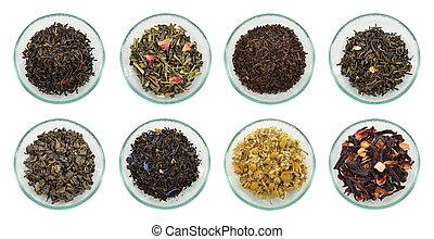 お茶, 各種組み合わせ, leaves., 乾かされた