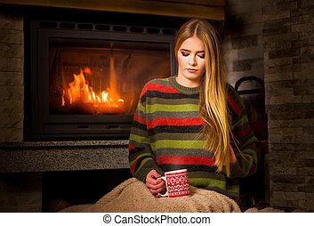 お茶, 女の子, 暖炉, 持つこと, カップ